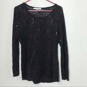 Maurices black lace sequins top plus size 0